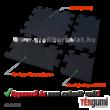 Az 1 cm vastagságú, fekete színű rezgéscsillapító puzzle gumiburkolat elemei