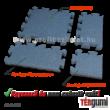 A szürke színű 4 cm vastag esésvédő puzzle gumiburkolat elemei