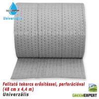 Az erősített univerzális felitató tekercs a perforációk mentén kisebb, gazdaságosan használható felszívató lapokra téphető.