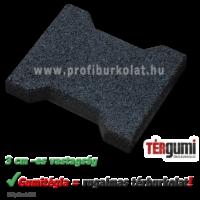 Gumitégla térburkolat fekete színben, 3 cm vastagságban.