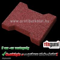 Vörös színű, 3 cm vastag gumitégla térburkolat