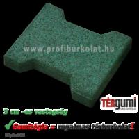 Gumitégla térburkolat 3 cm vastagságban, zöld színben.