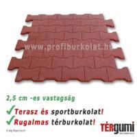 A vörös színű puzzle gumitégla kiváló sport- és térburkolat.