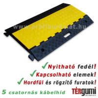 Ötcsatornás kábelhíd felnyitható tetővel, sárga-fekete színben.