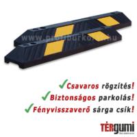 Gumi parkolási ütközésvédő sárga fényvisszaverő csíkokkal.
