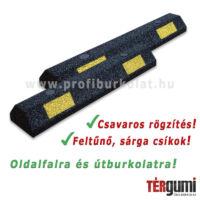 Parkolási- és fali gumi ütközésvédő feltűnő sárga csíkokkal.