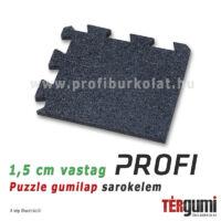 1,5 cm vastag fekete puzzle gumilap sarokelem - professzionális burkoláshoz.
