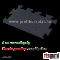 Szegélyelem az 1 cm vastagságú rezgéscsillapító, fekete puzzle gumilap burkolathoz