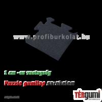 Sarokelem az 1 cm vastagságú, fekete rezgéscsillapító puzzle gumilap burkolathoz