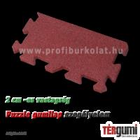Szegélyelem a 2 cm vastagságú rezgéscsillapító, vörös puzzle gumilap lerakásához