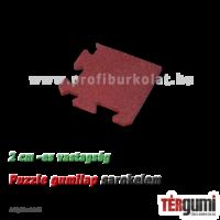 Sarokelem a 2 cm vastagságú, vörös rezgéscsillapító puzzle gumilap mellé