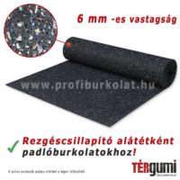 Rezgéscsillapító gumitekercs kis és közepes igénybevételű  padlóburkolatok alá.