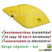 Baloldali, sárga sebességcsökkentő küszöb végelem (fekvőrendőr végelem).